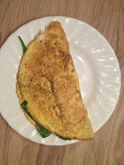 Maaltijd-tijdens-insanity-omelet-met-spinazie-en-ricotta