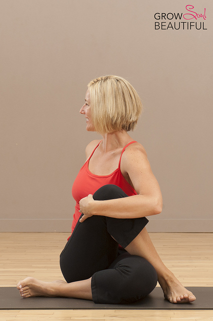 Seated twist yoga