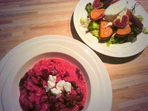 salade met pompoen en risotto met rode biet