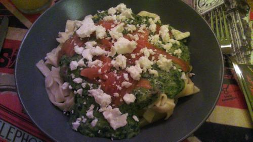 tagliatelle spinazie eetdagboek