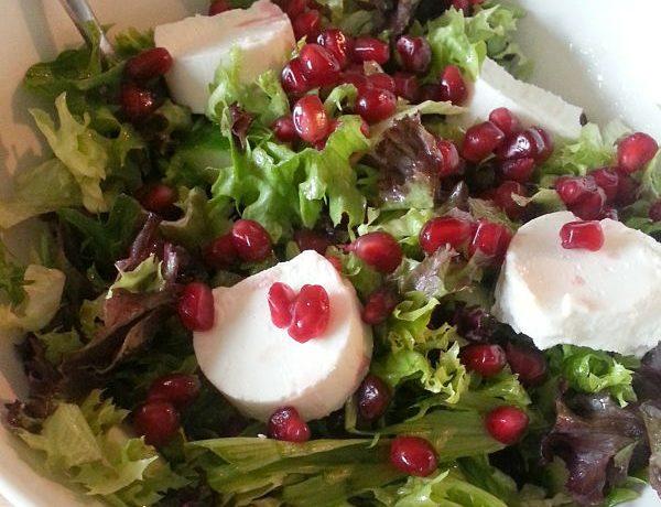 Bianca's eetdagboek salade met geitenkaas en granaatappel